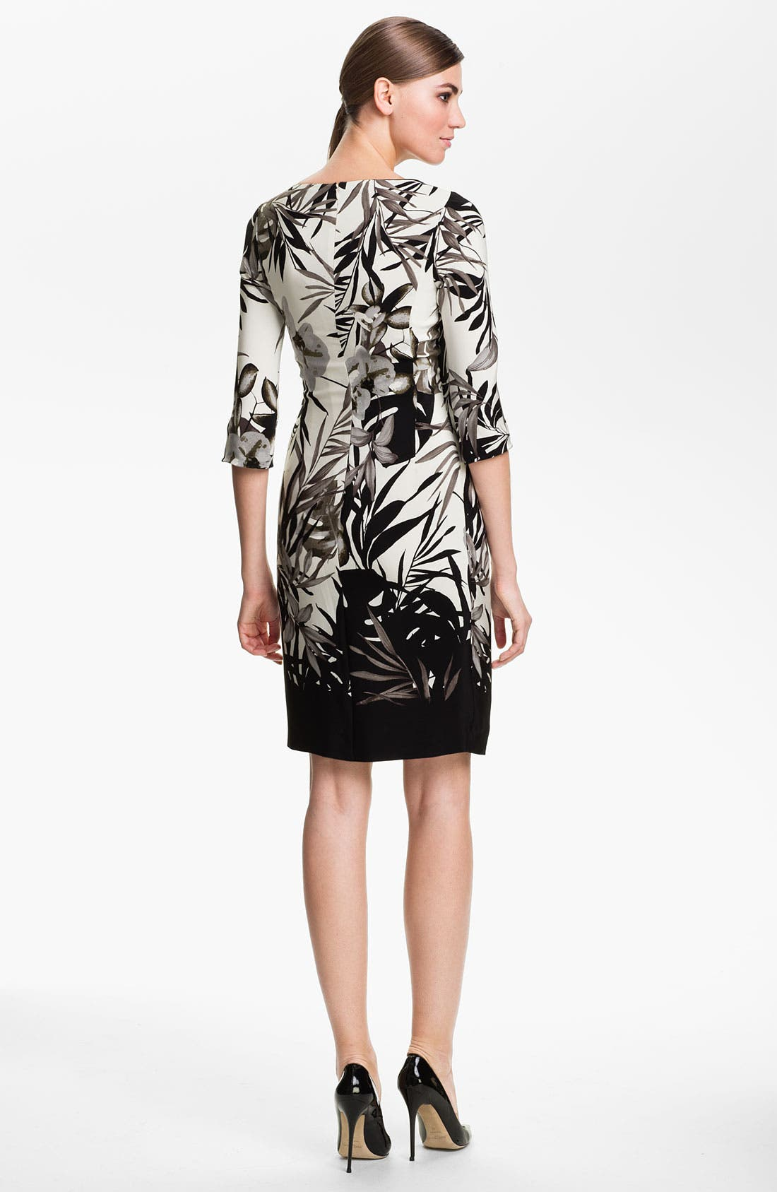 Alternate Image 2  - St. John Collection Floral Print Faux Wrap Dress