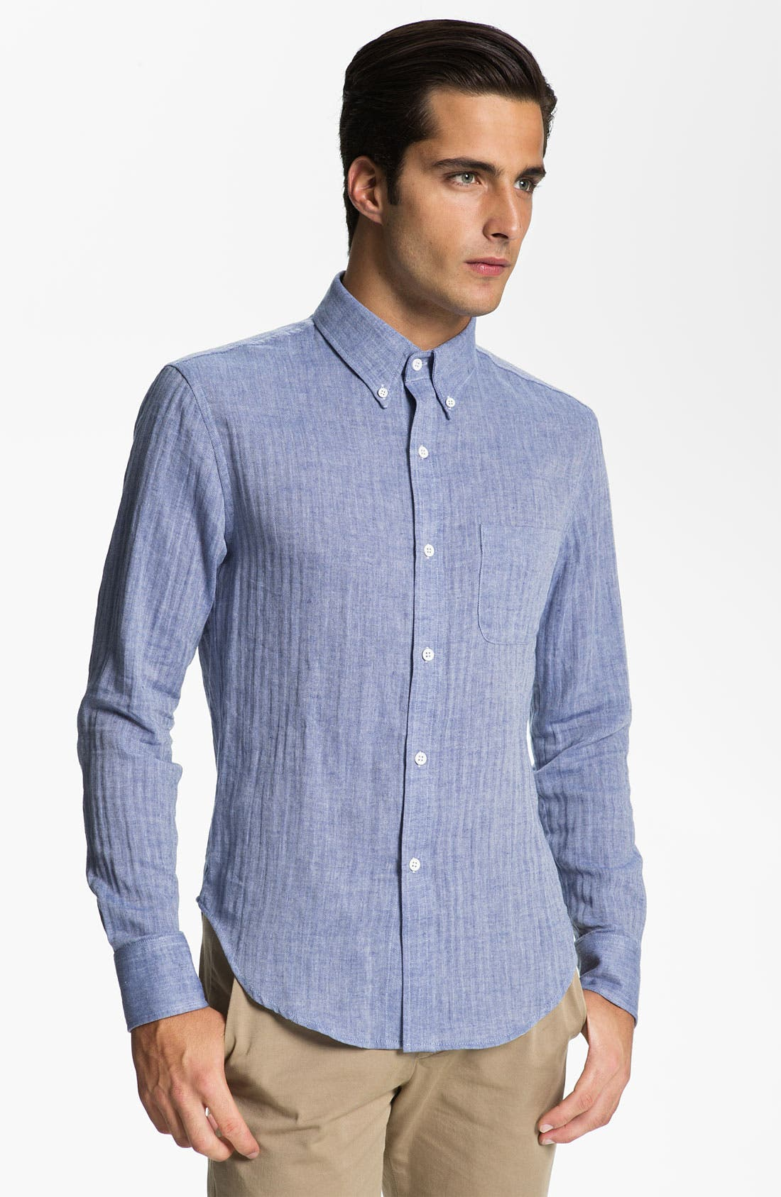 Main Image - Band of Outsiders Herringbone Woven Shirt