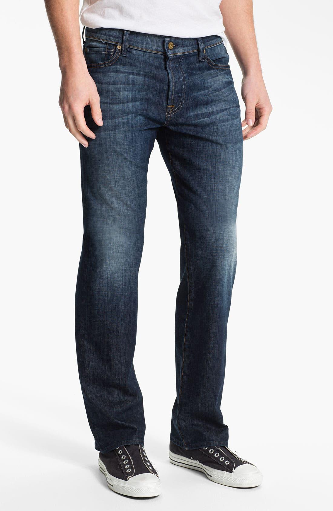 Alternate Image 2  - 7 For All Mankind® 'Standard' Straight Leg Jeans (Worn L.A. Dark)
