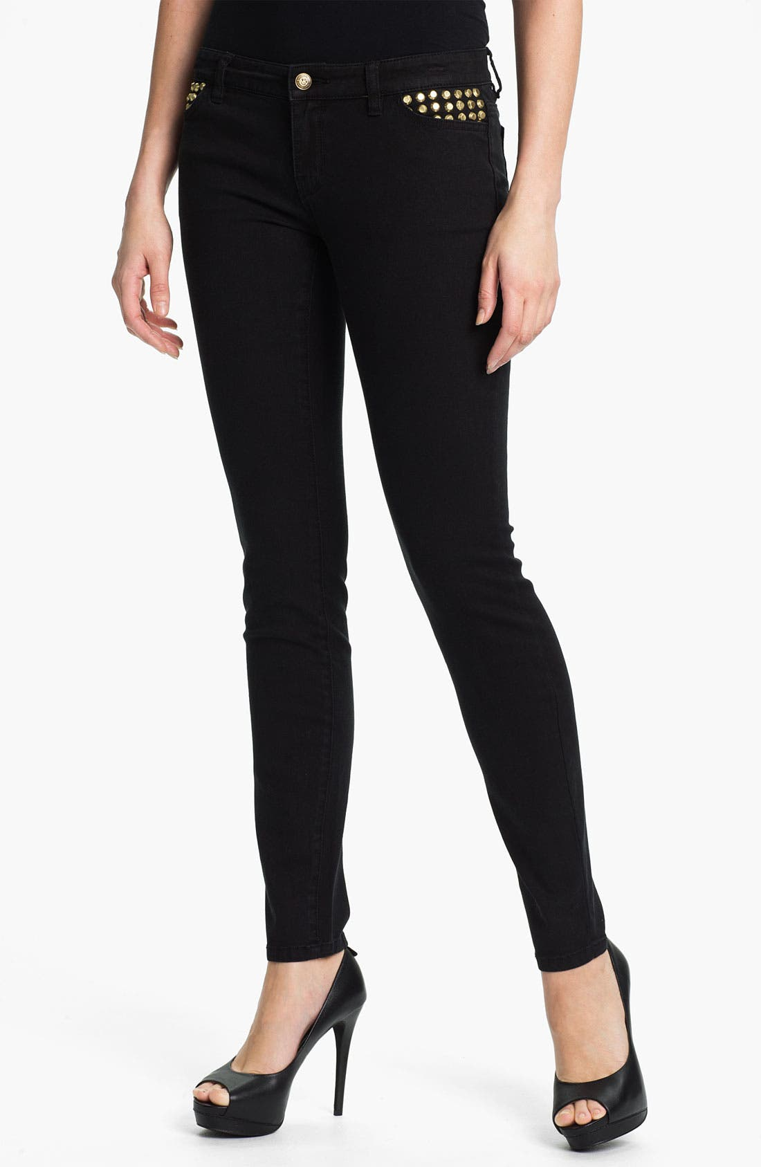 Main Image - MICHAEL Michael Kors 'Astor' Studded Denim Leggings