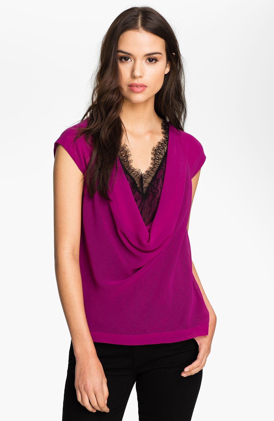 Main Image - Heed Layered Lace & Chiffon Draped Top