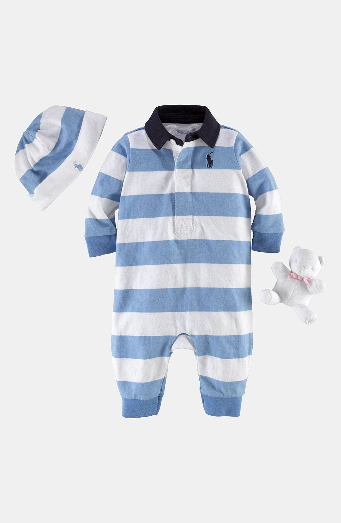 Alternate Image 1 Selected - Ralph Lauren Romper, Hat & Stuffed Animal (Infant)