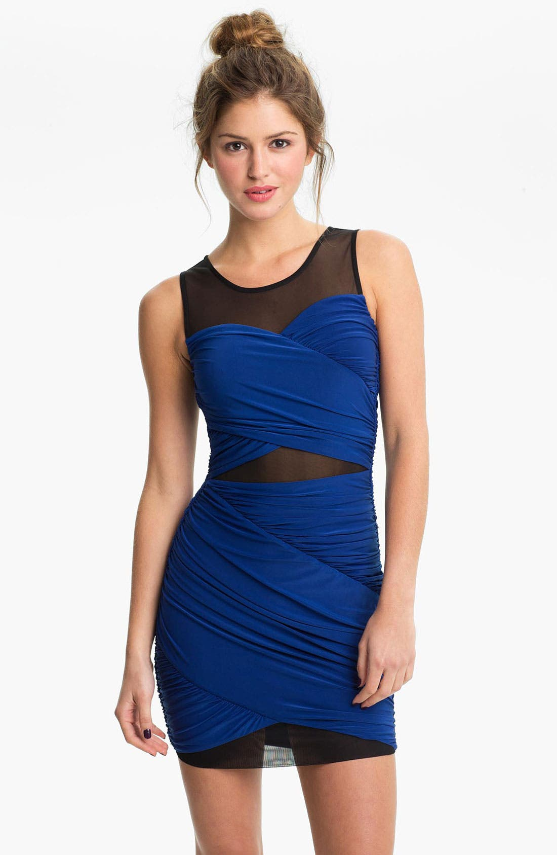 Alternate Image 1 Selected - Soprano Mesh Panel Draped Body-Con Dress (Juniors)