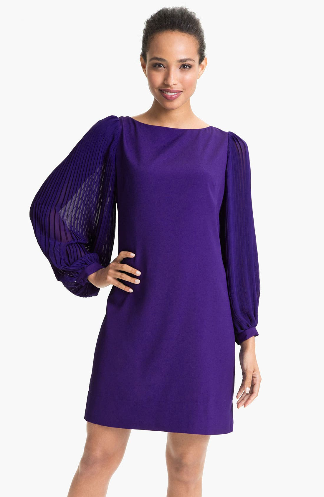 Alternate Image 1 Selected - Eliza J Pleated Blouson Sleeve Shift Dress