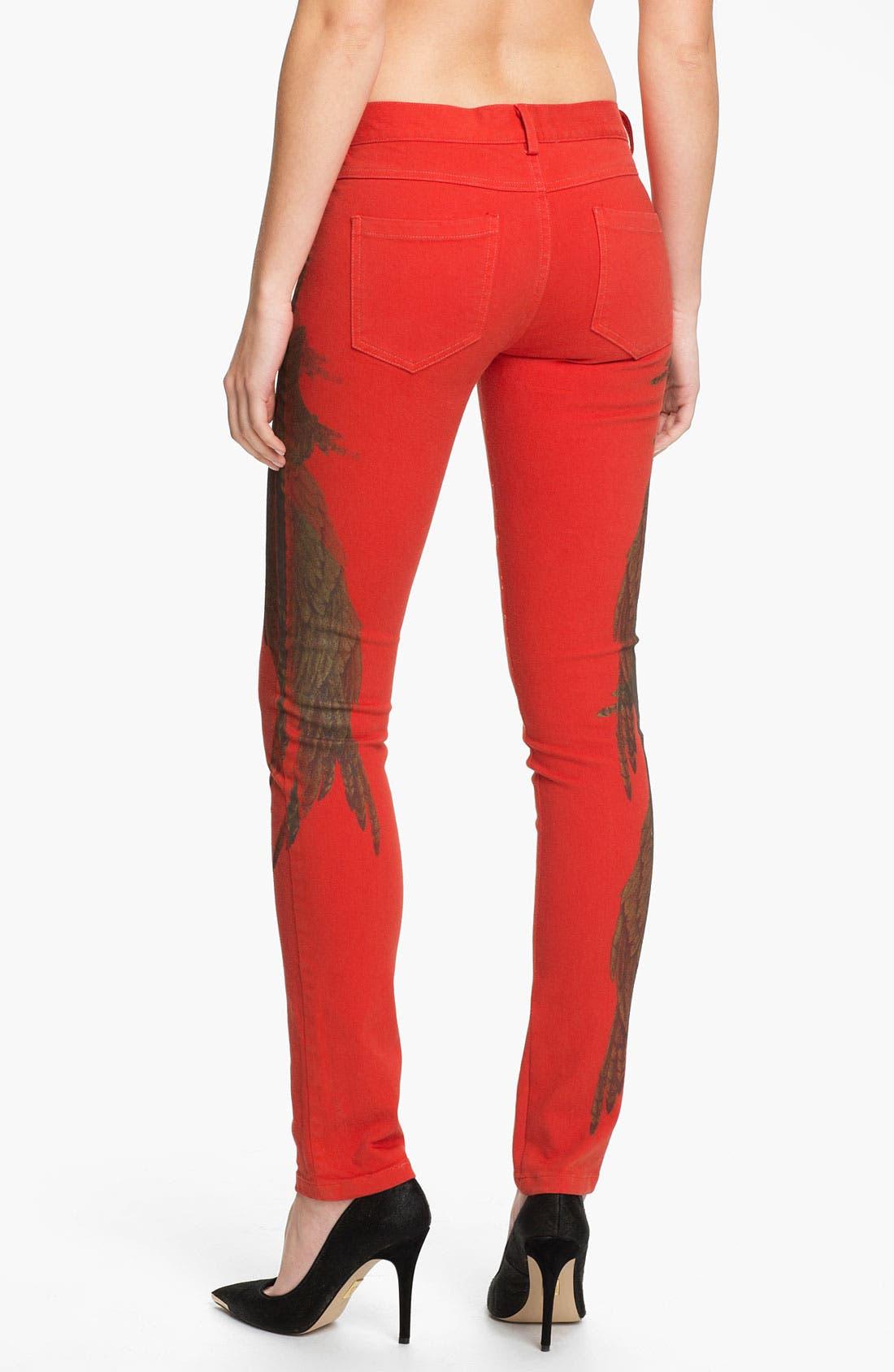 Alternate Image 2  - Haute Hippie Feather Print Skinny Jeans