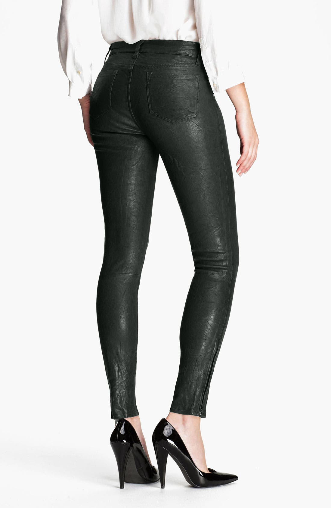 '8001' Lambskin Leather Pants,                             Alternate thumbnail 2, color,                             Forest