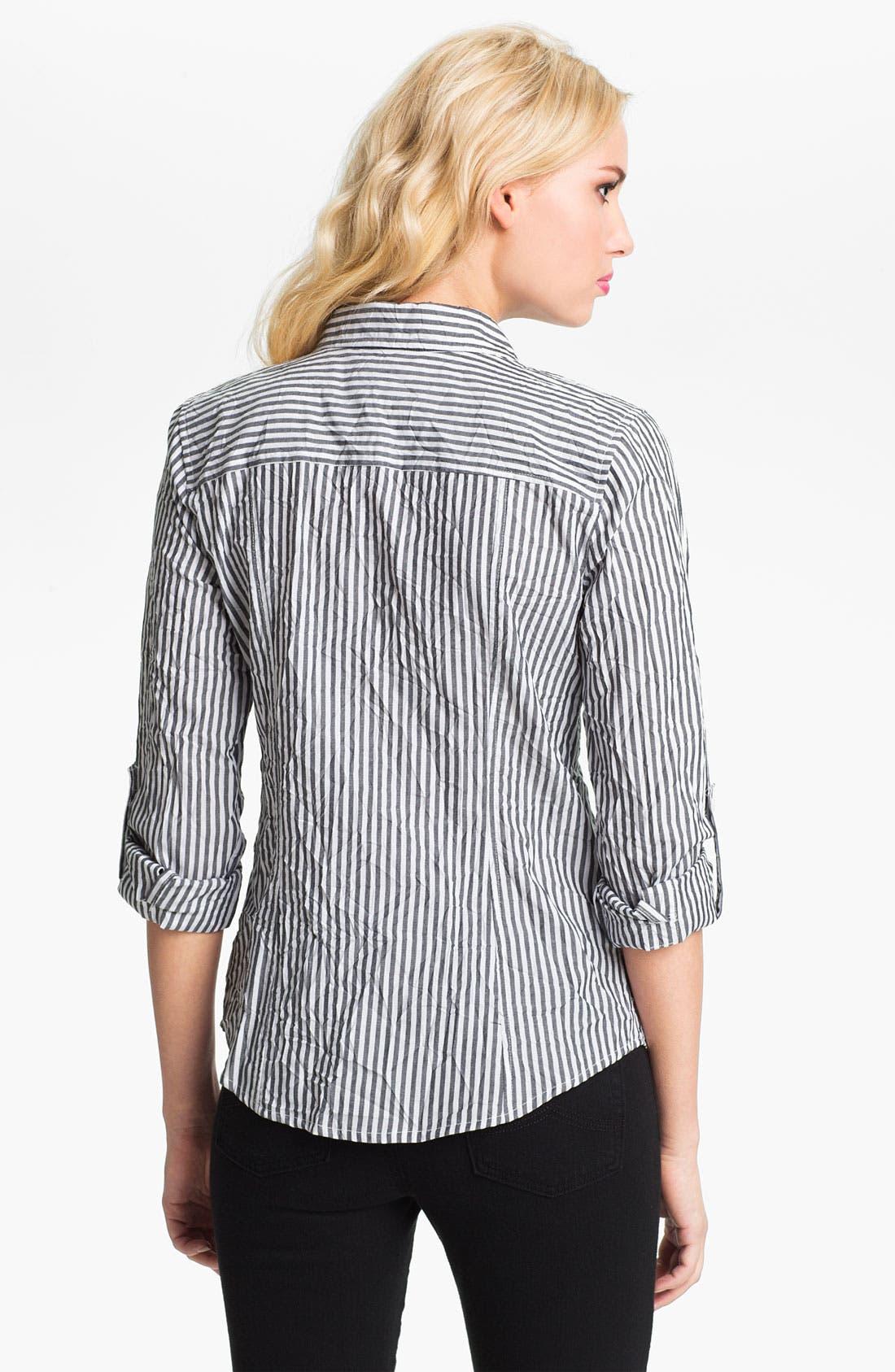Alternate Image 2  - MICHAEL Michael Kors Roll Sleeve Stripe Shirt
