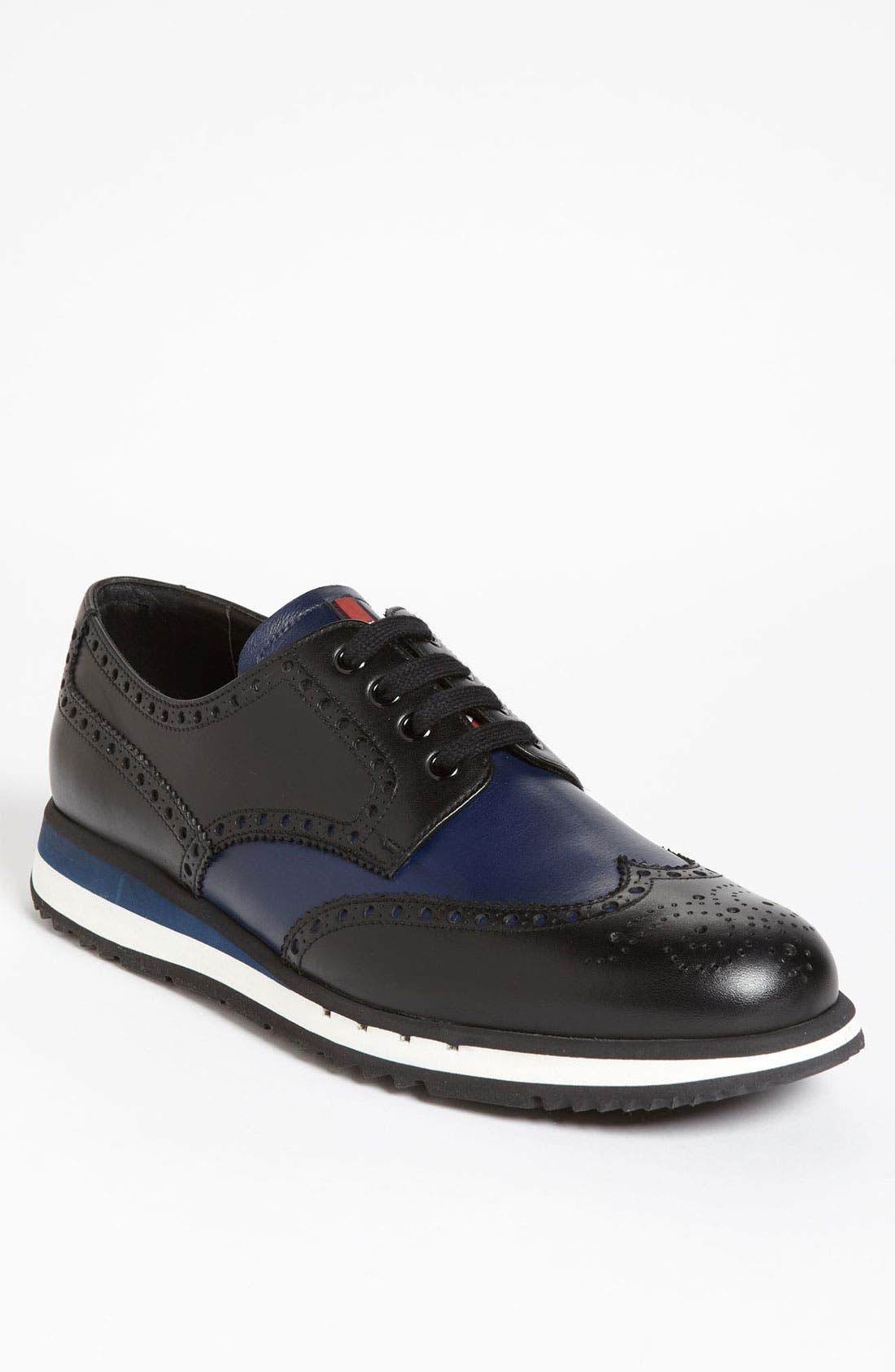 Main Image - Prada Two Tone Wingtip Sneaker