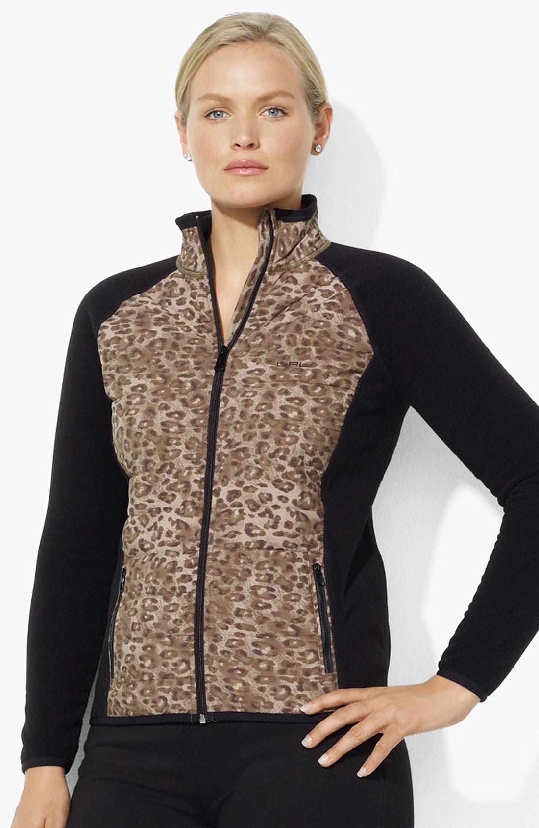 Main Image - Lauren Ralph Lauren Leopard Panel Jacket (Plus)