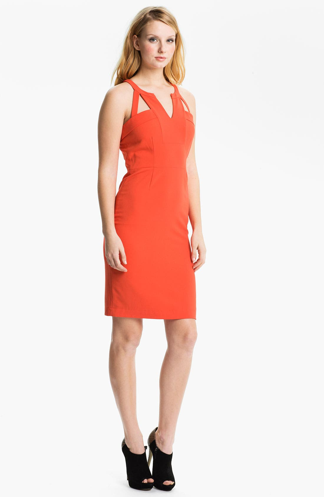 Alternate Image 1 Selected - BCBGMAXAZRIA Notched Neck Cutout Sheath Dress