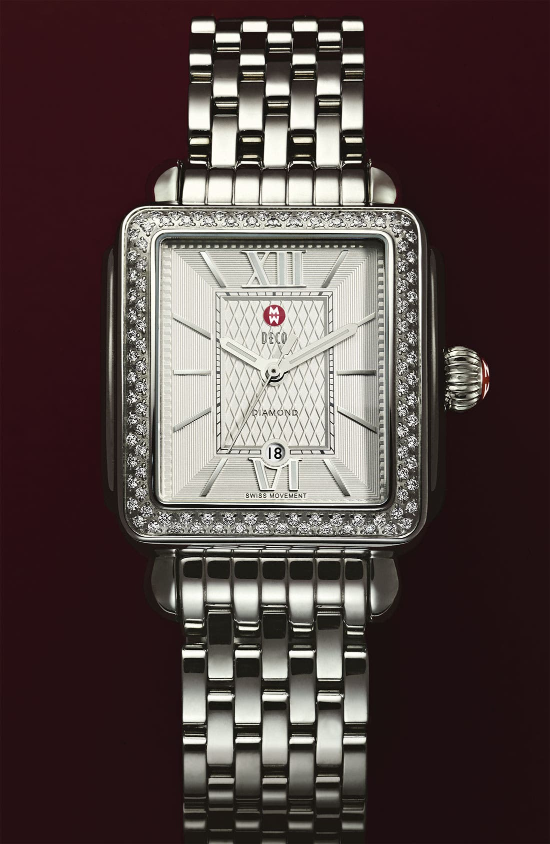 Main Image - MICHELE 'Deco Diamond' Guilloche Dial Customizable Watch