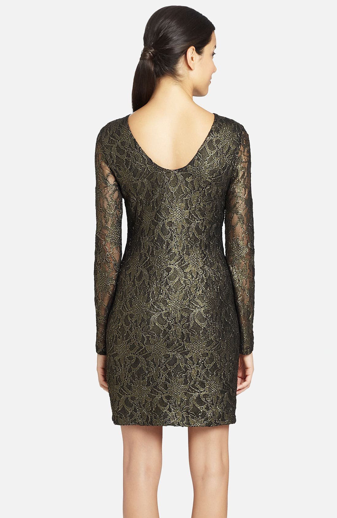 Alternate Image 2  - Cynthia Steffe 'Lydia' Metallic Illusion Sleeve Lace Dress