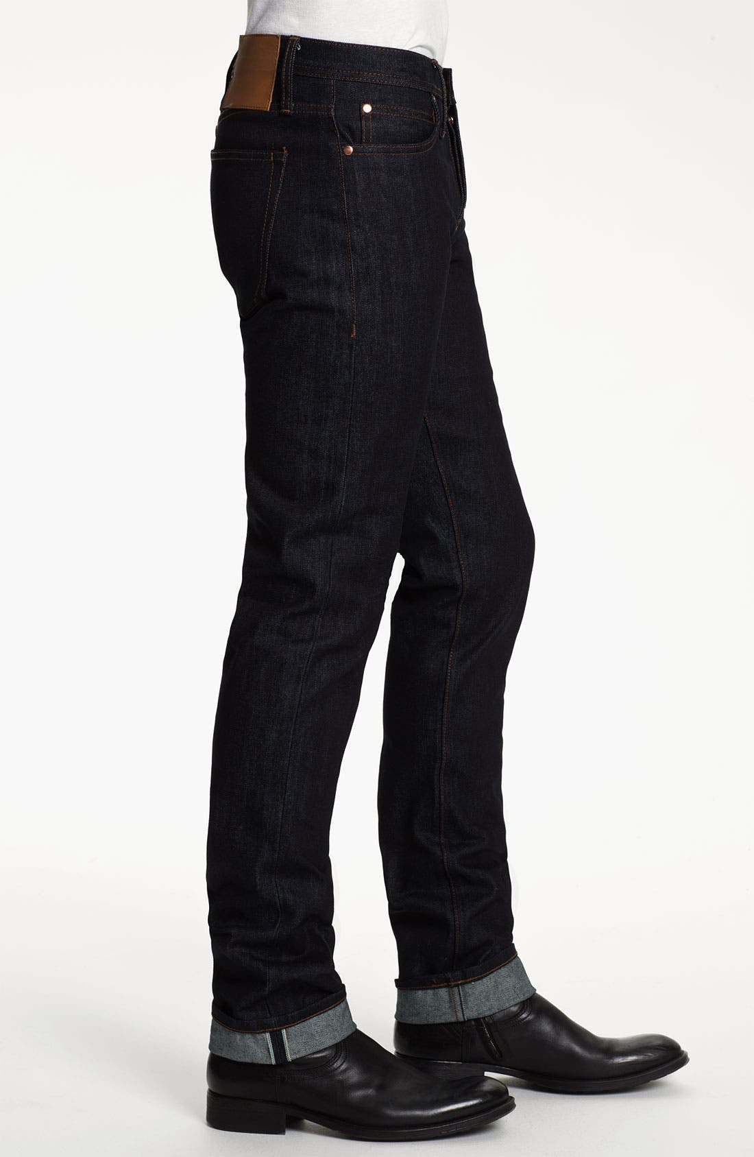 Alternate Image 3  - The Unbranded Brand UB101 Skinny Fit Raw Selvedge Jeans (Indigo)