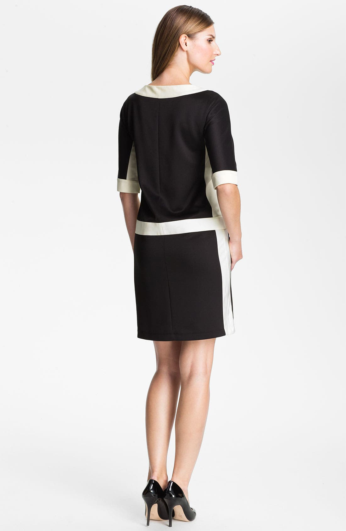 Alternate Image 2  - Ellen Tracy Contrast Trim Front Zip Dress