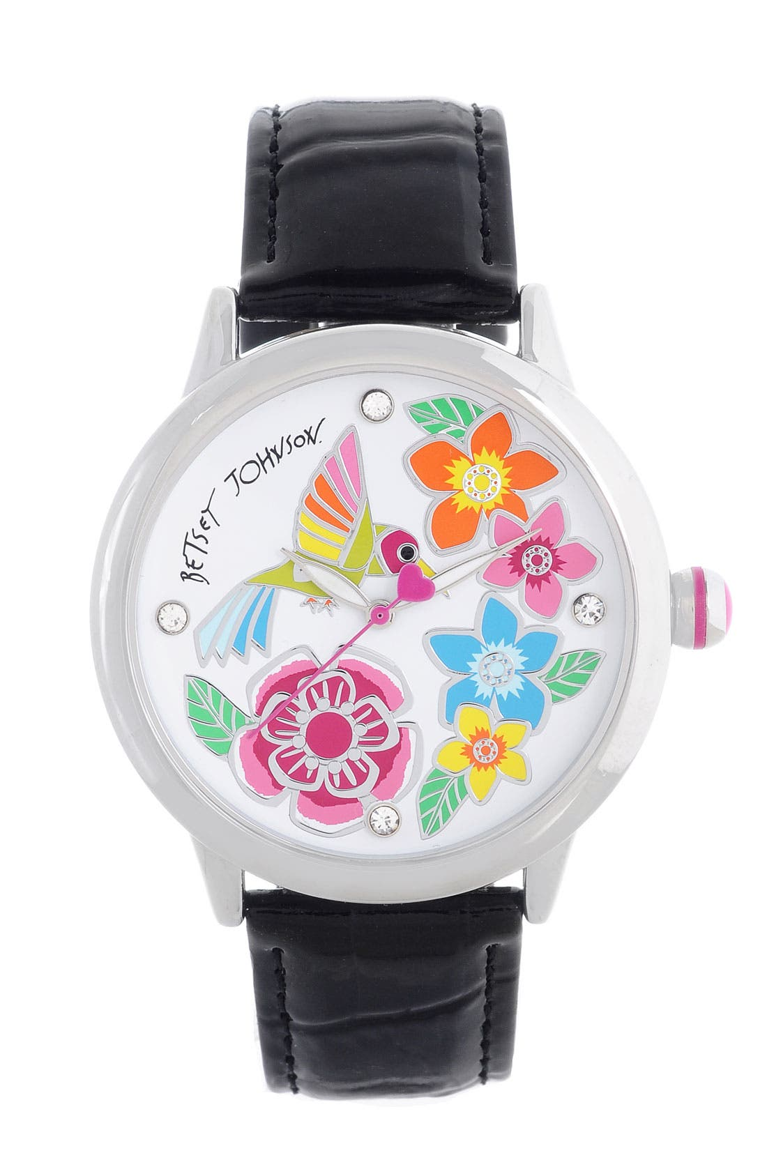 Alternate Image 1 Selected - Betsey Johnson Hummingbird Dial Leather Strap Watch