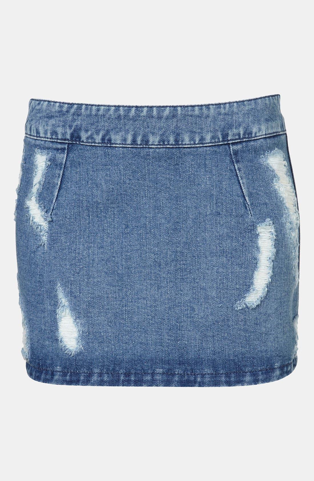 Alternate Image 1 Selected - Topshop Moto Distressed Denim Miniskirt