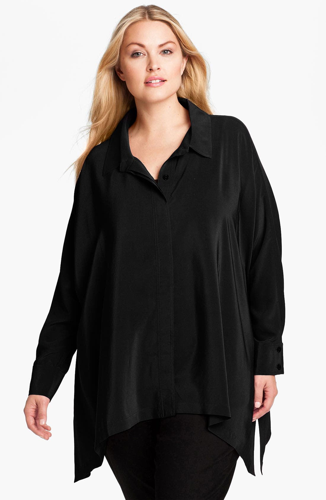 Alternate Image 1 Selected - Eileen Fisher Oversized Silk Shirt (Plus)