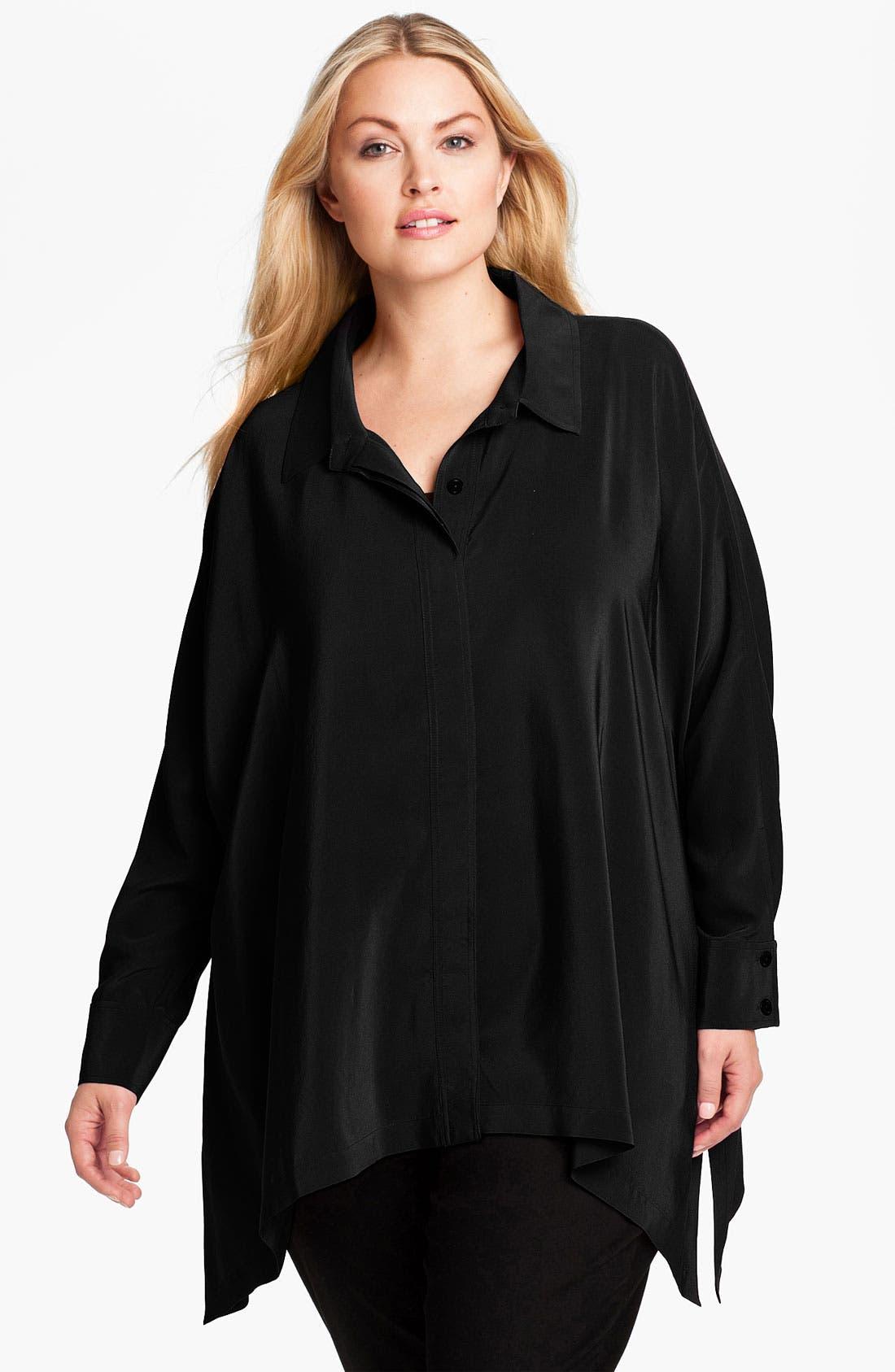 Main Image - Eileen Fisher Oversized Silk Shirt (Plus)