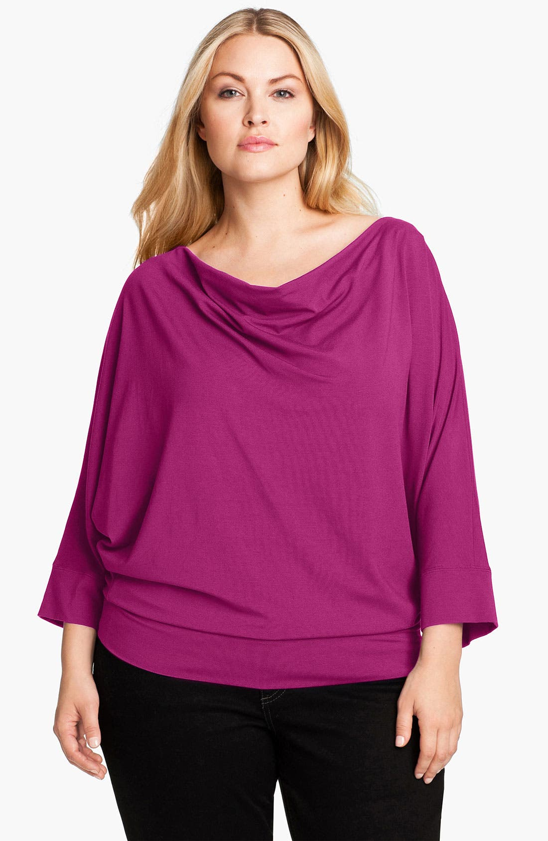 Main Image - Eileen Fisher Drape Neck Top (Plus)