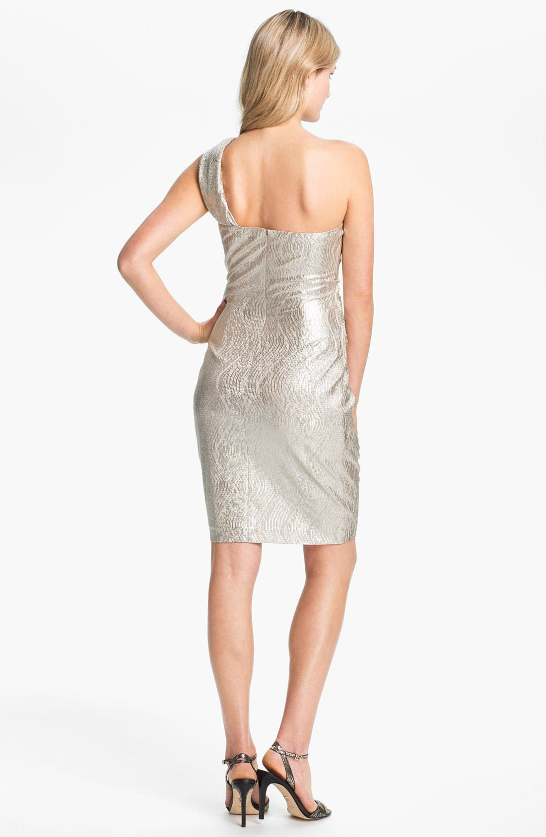 Alternate Image 2  - Eliza J One Shoulder Beaded Patch Metallic Sheath Dress