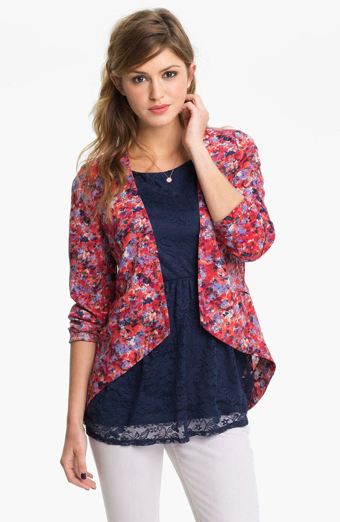 Alternate Image 1 Selected - Lush Print Drape Blazer (Juniors)
