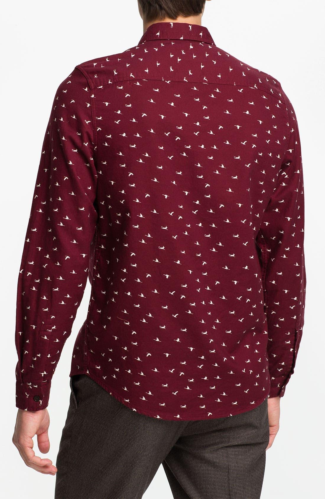 Alternate Image 2  - Topman Crane Print Cotton Twill Shirt