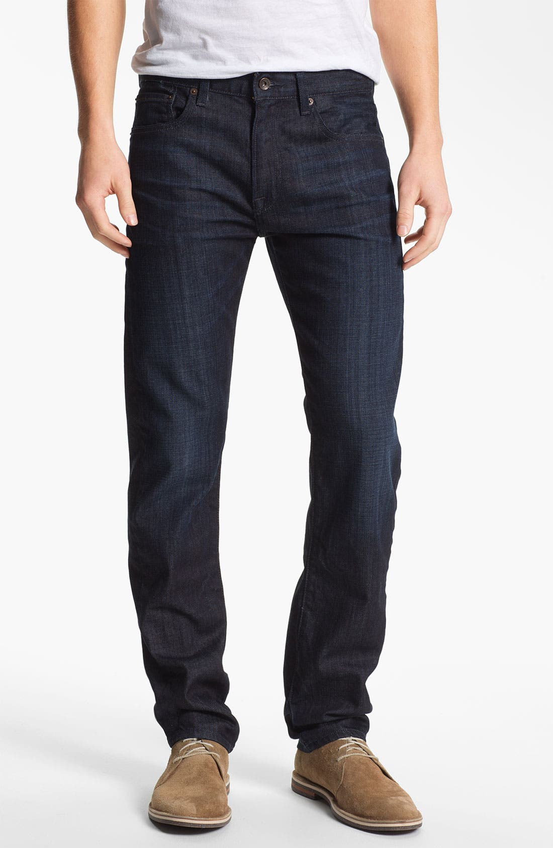 Alternate Image 1 Selected - Lucky Brand 'Dean' Straight Leg Jeans (Dark Kingston) (Online Only)