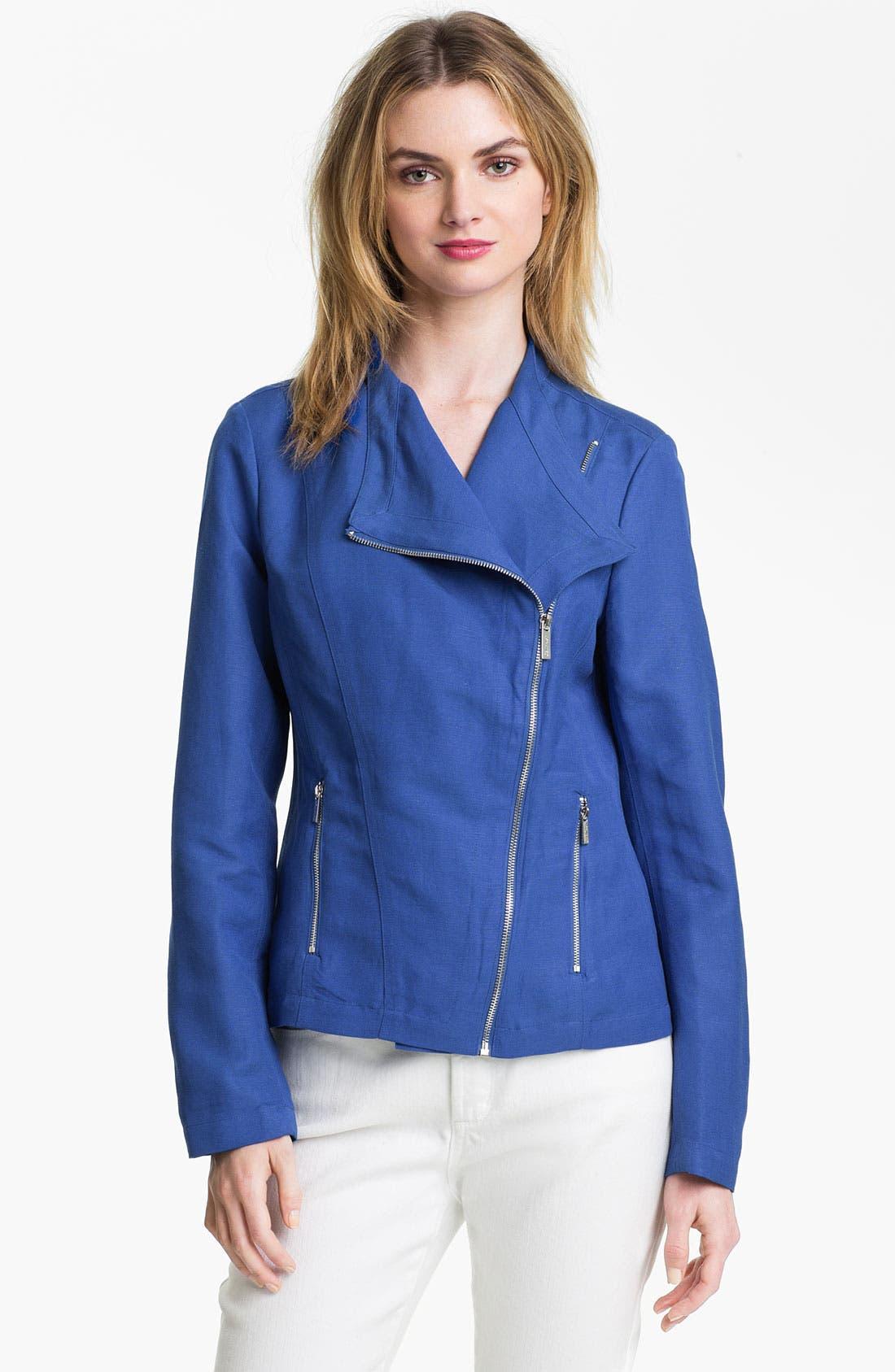 Main Image - Calvin Klein Linen Blend Moto Jacket (Online Exclusive)