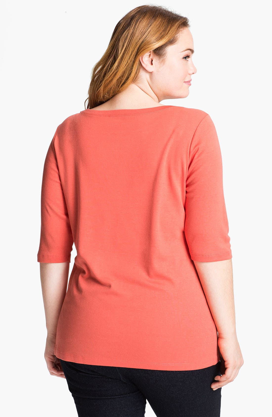 Alternate Image 2  - Sejour Elbow Sleeve Tee (Plus Size)