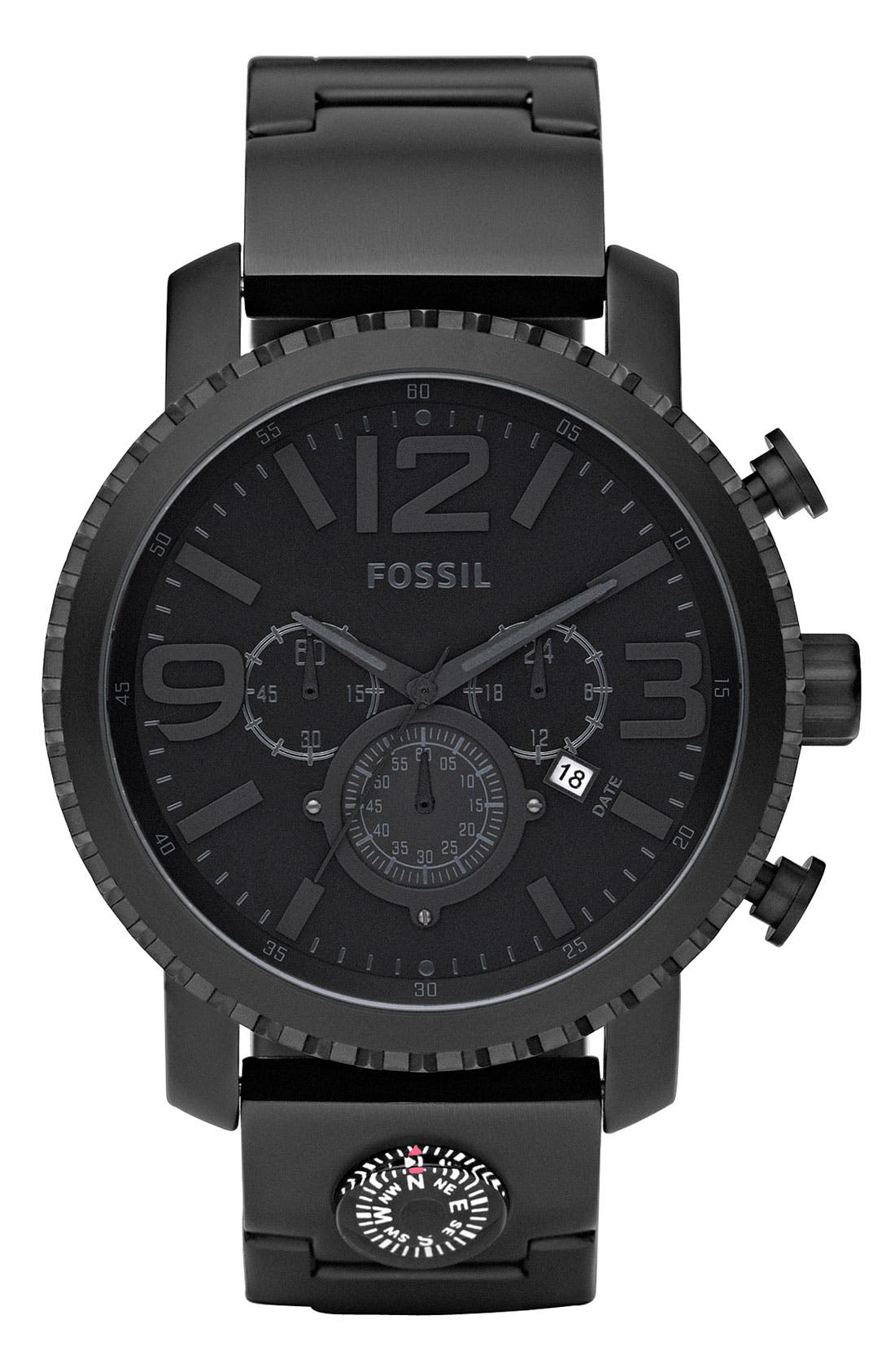 Alternate Image 1 Selected - Fossil 'Gage' Chronograph Leather Strap Watch, 50mm