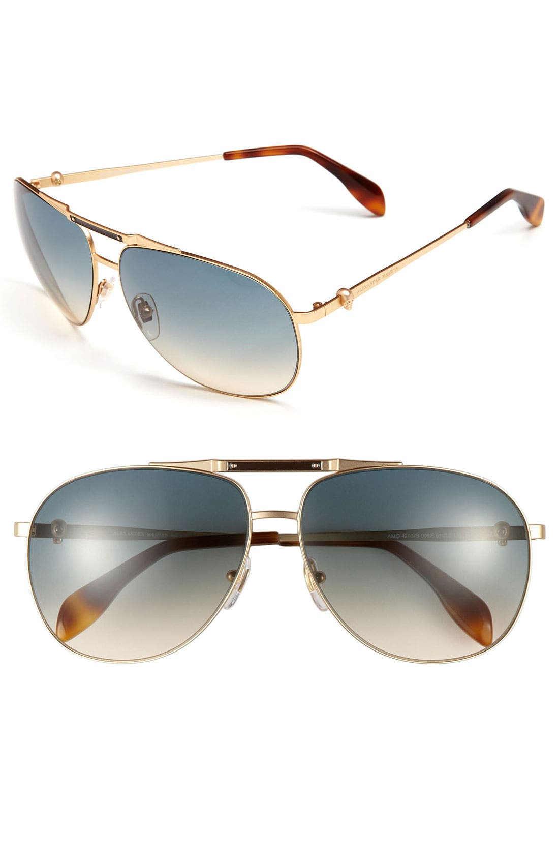 Main Image - Alexander McQueen 61mm Metal Aviator Sunglasses