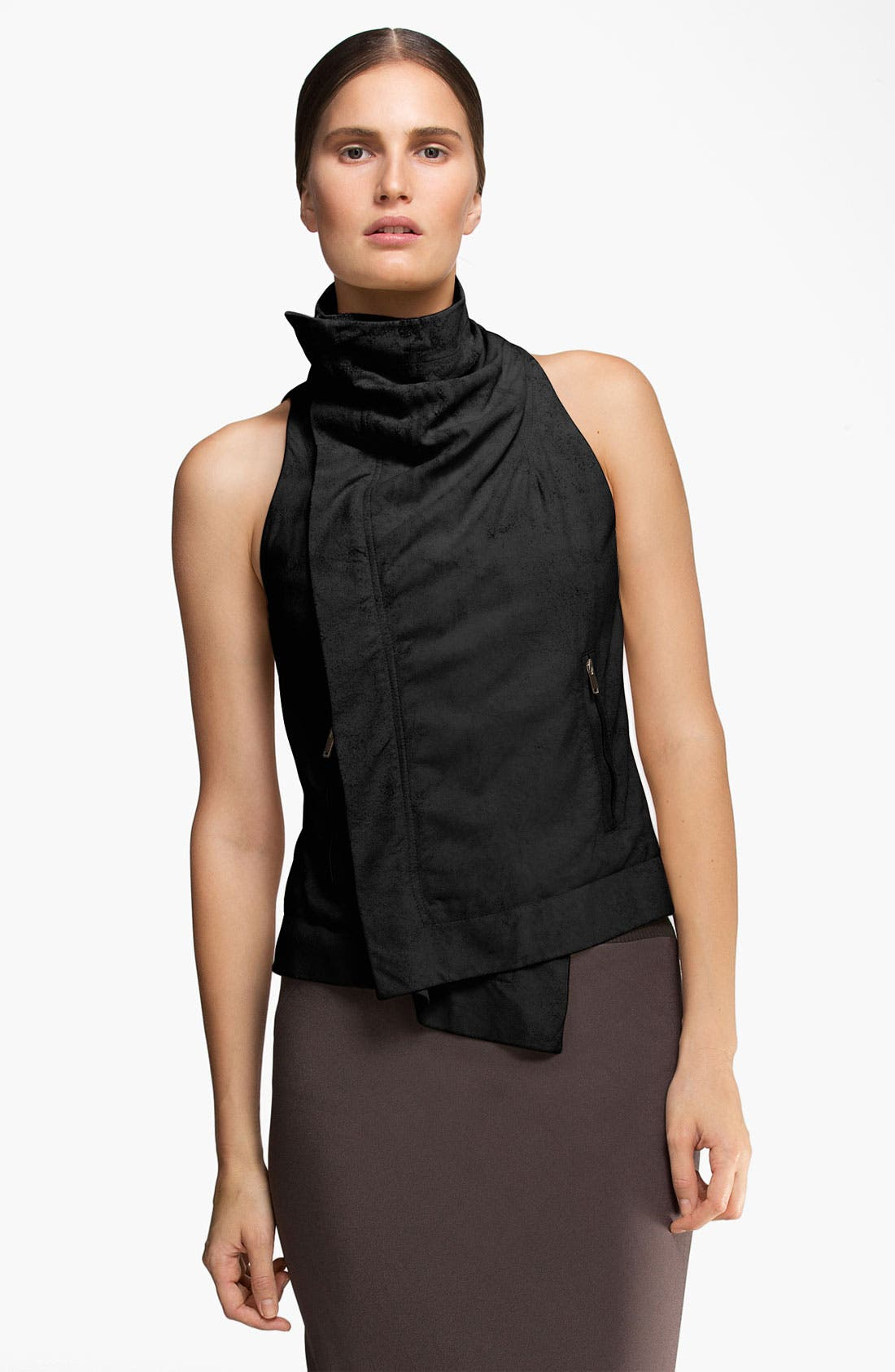 Main Image - Rick Owens Blistered & Waxed Leather Vest