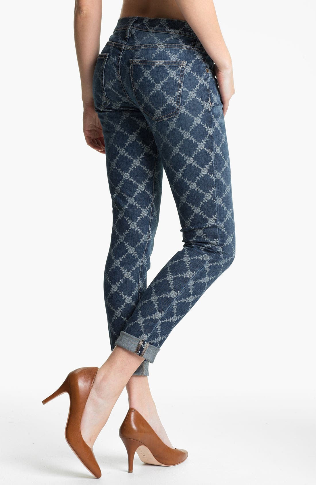 Alternate Image 2  - Current/Elliott 'The Rolled' Print Stretch Jeans (Indigo Rose Lattice)