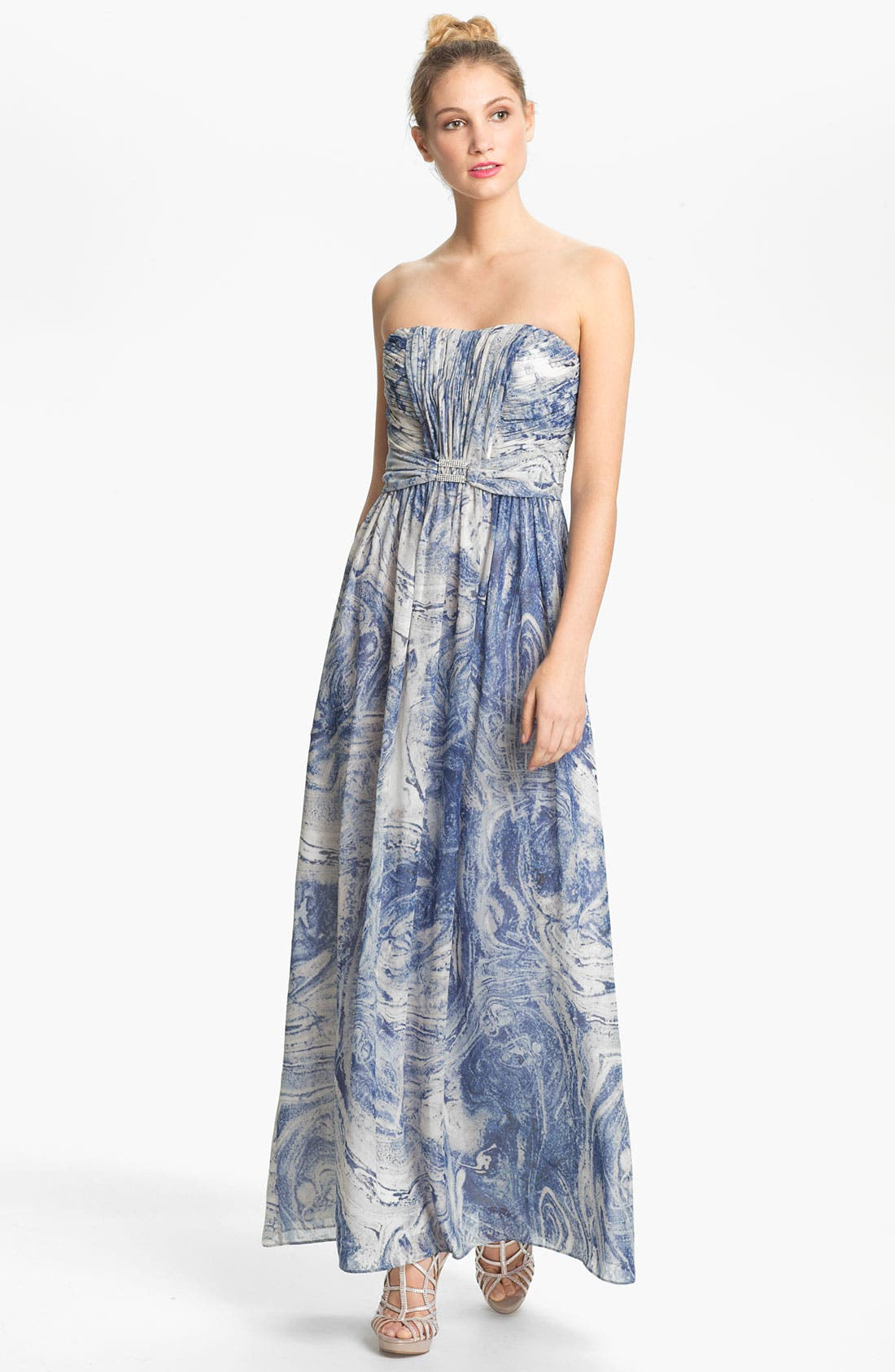 Main Image - Calvin Klein Embellished Print Strapless Chiffon Gown