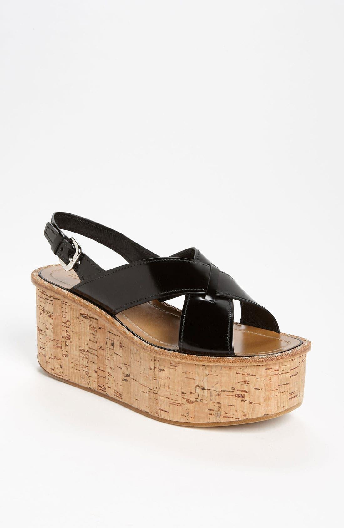 Alternate Image 1 Selected - Prada 'Criss Cross' Wedge Sandal
