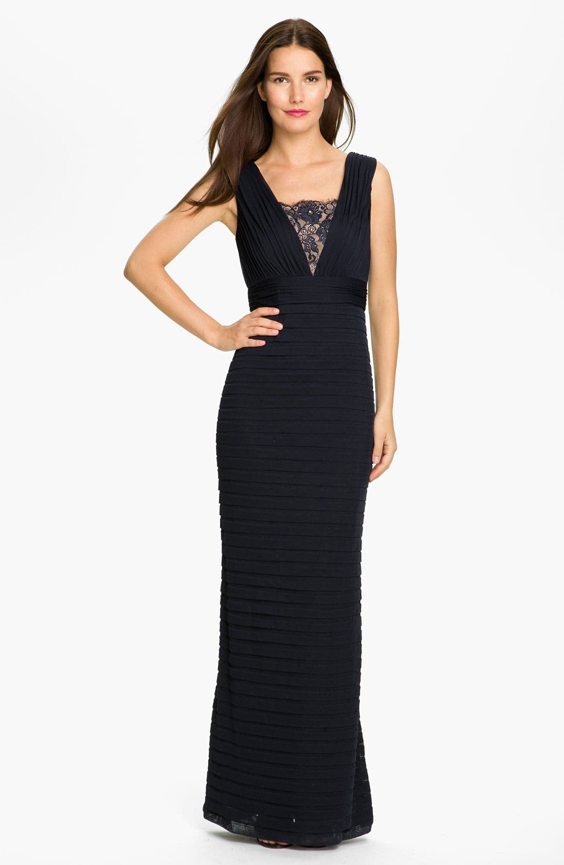 Alternate Image 1 Selected - Adrianna Papell Pleated Lace Inset Mesh Gown (Petite)
