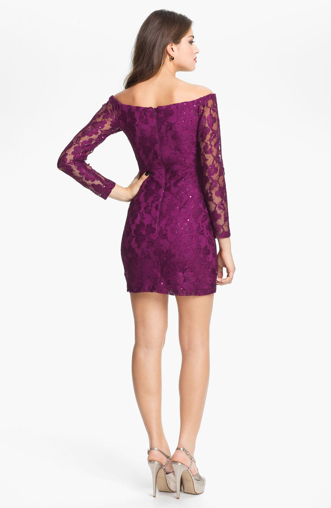 Alternate Image 2  - Jessica McClintock Sheer Sleeve Sequin Lace Minidress