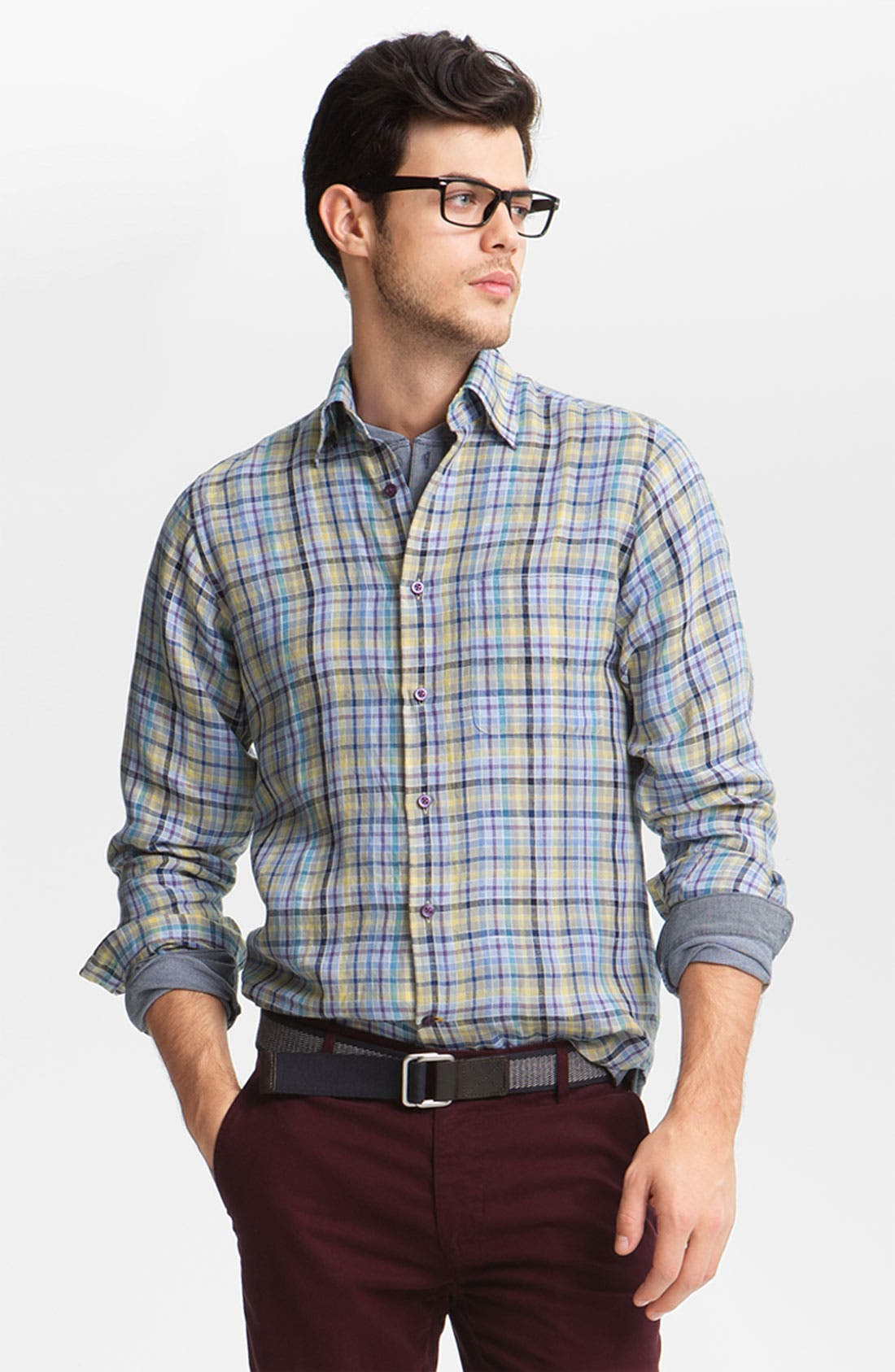 Alternate Image 1 Selected - Robert Talbott Regular Fit Linen Sport Shirt