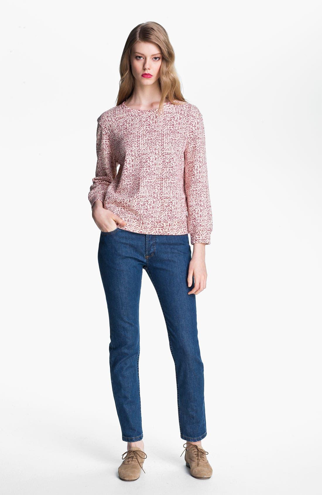 Alternate Image 1 Selected - A.P.C. Print Blouson Sleeve Cotton Sweatshirt