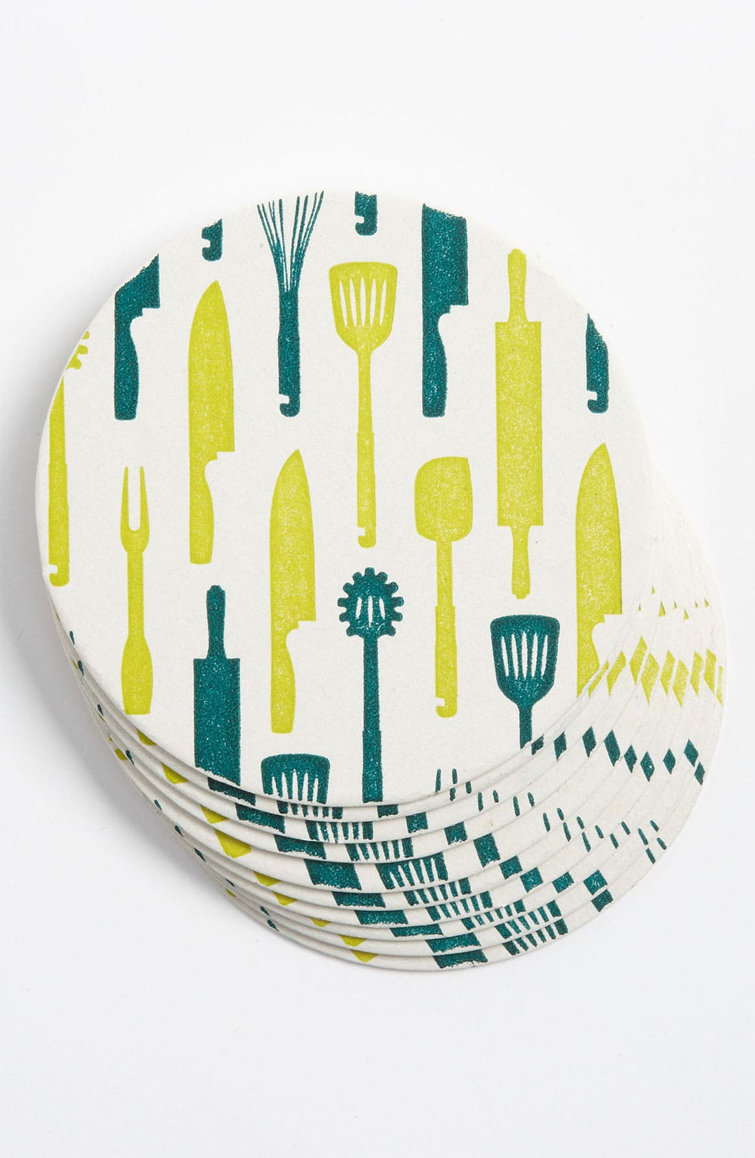 Alternate Image 1 Selected - 'Kitchen Utensils' Letterpress Coasters (Set of 10)