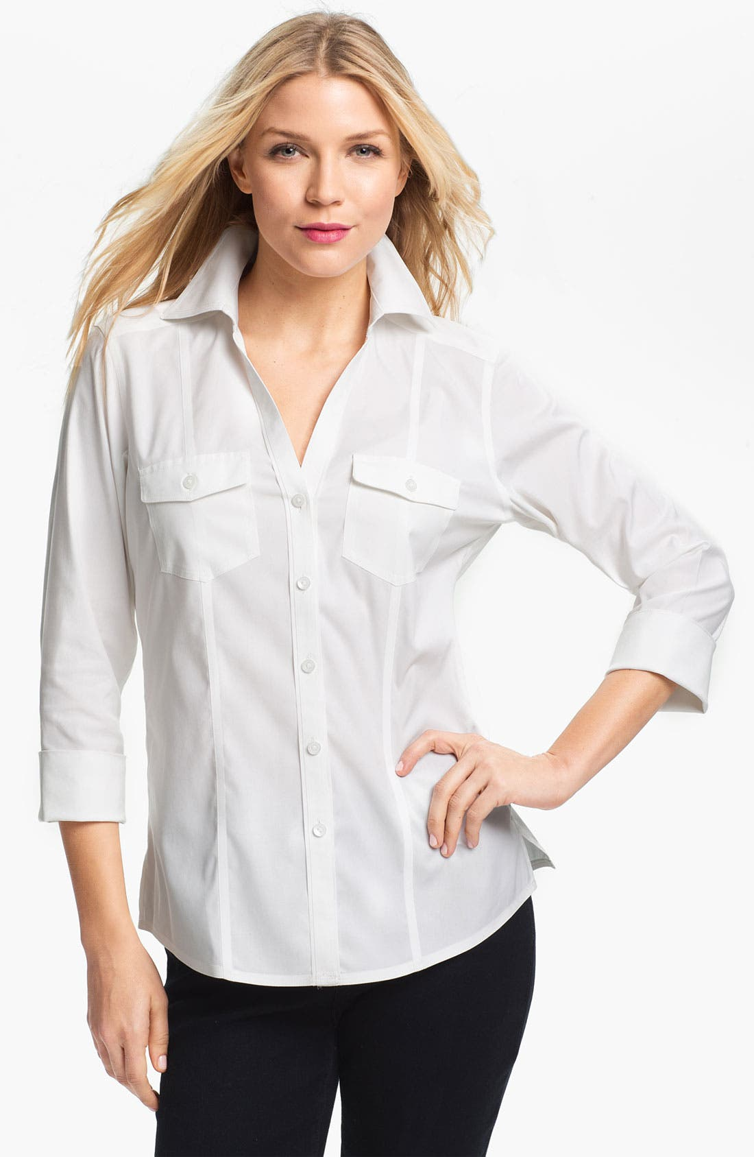 Alternate Image 1 Selected - Foxcroft Three Quarter Sleeve Shirt