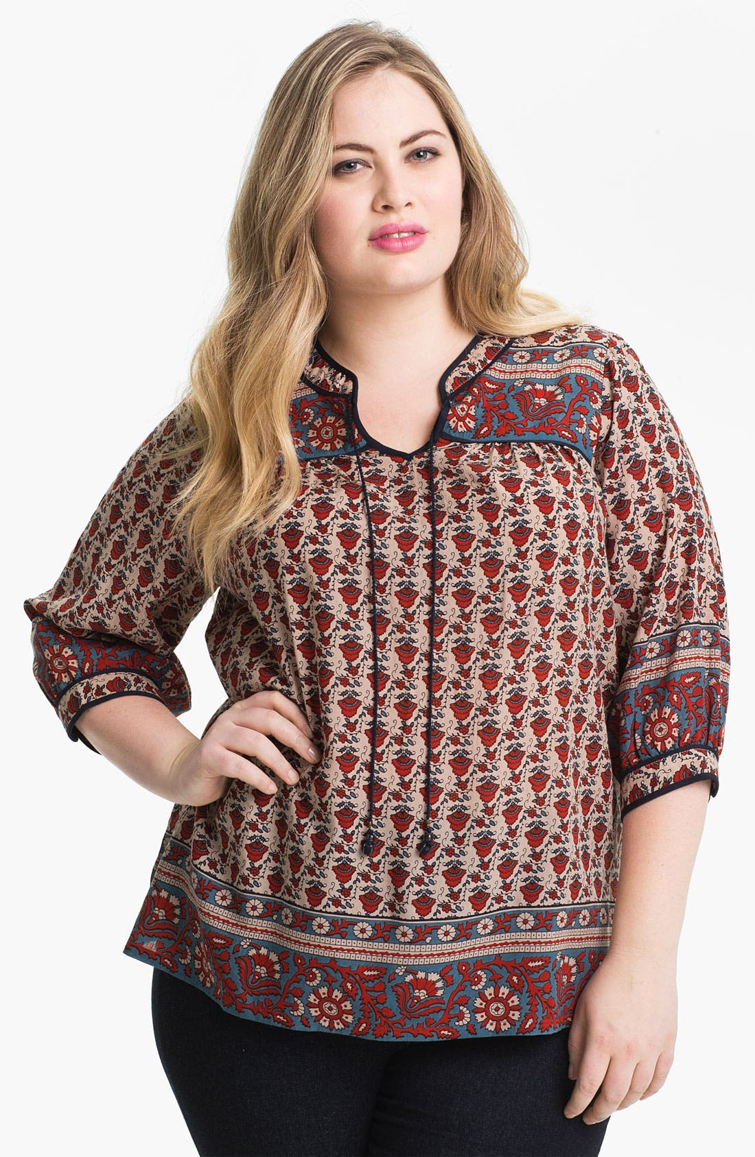 Main Image - Lucky Brand Print Peasant Top (Plus)
