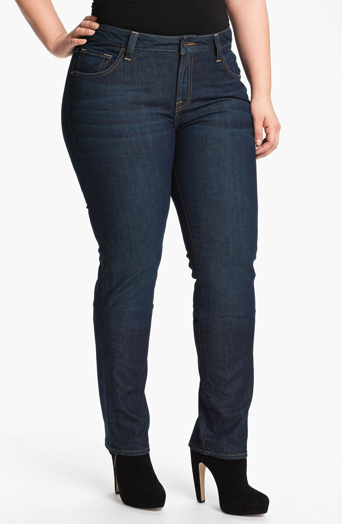 Alternate Image 1 Selected - Lucky Brand 'Ginger' Straight Denim Jeans (Plus Size)