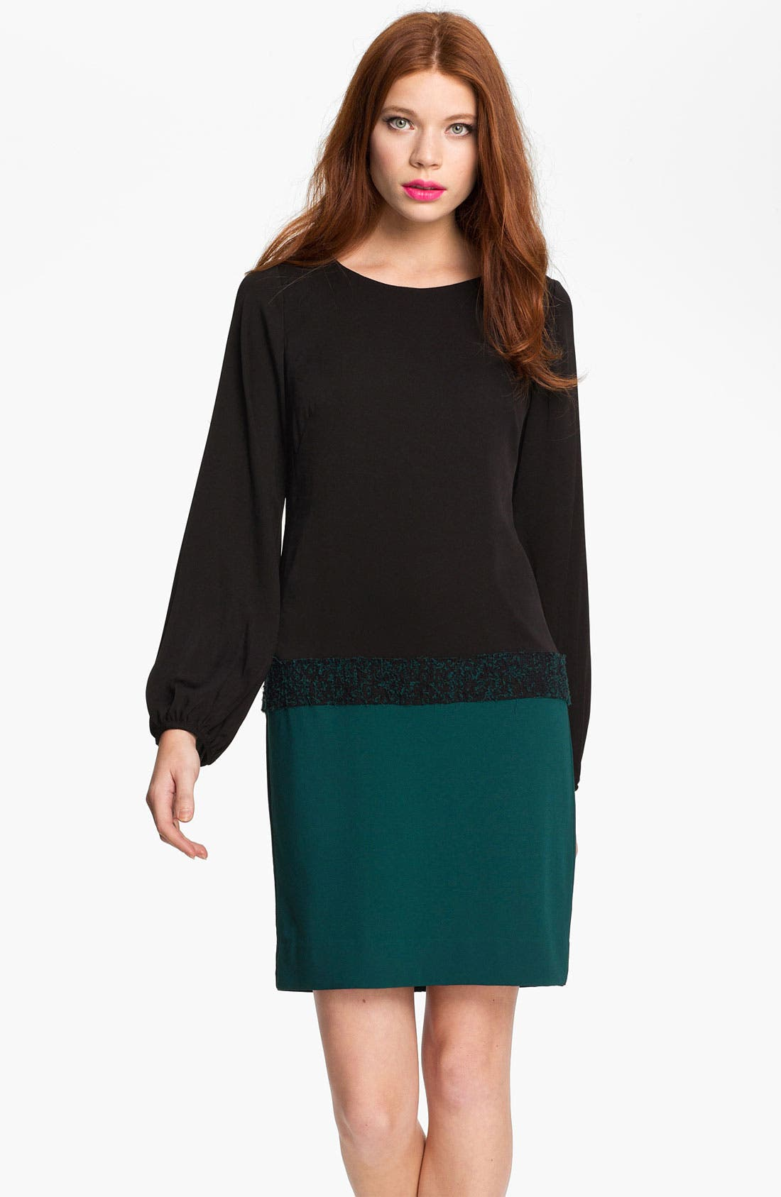 Main Image - Nicole Miller Blouson Sleeve Colorblock Crepe Dress