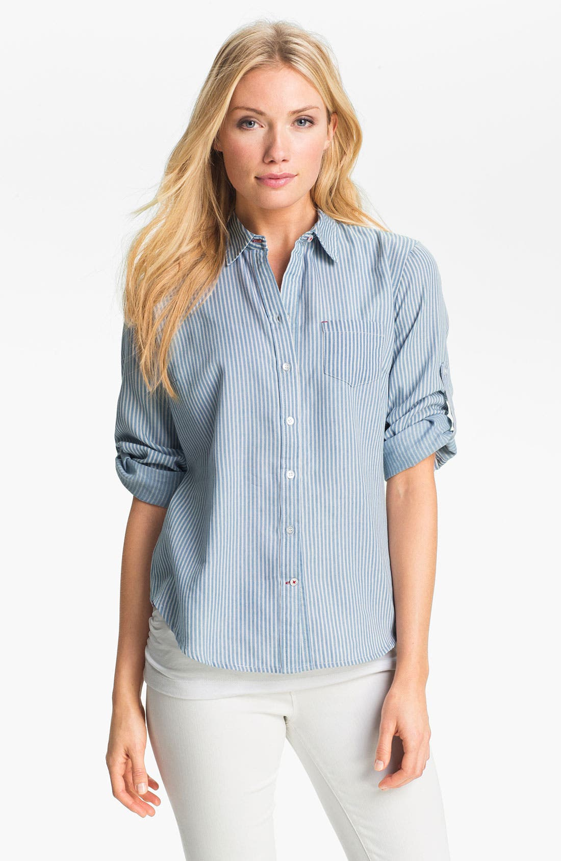 Main Image - Sandra Ingrish Roll Sleeve Stripe Shirt