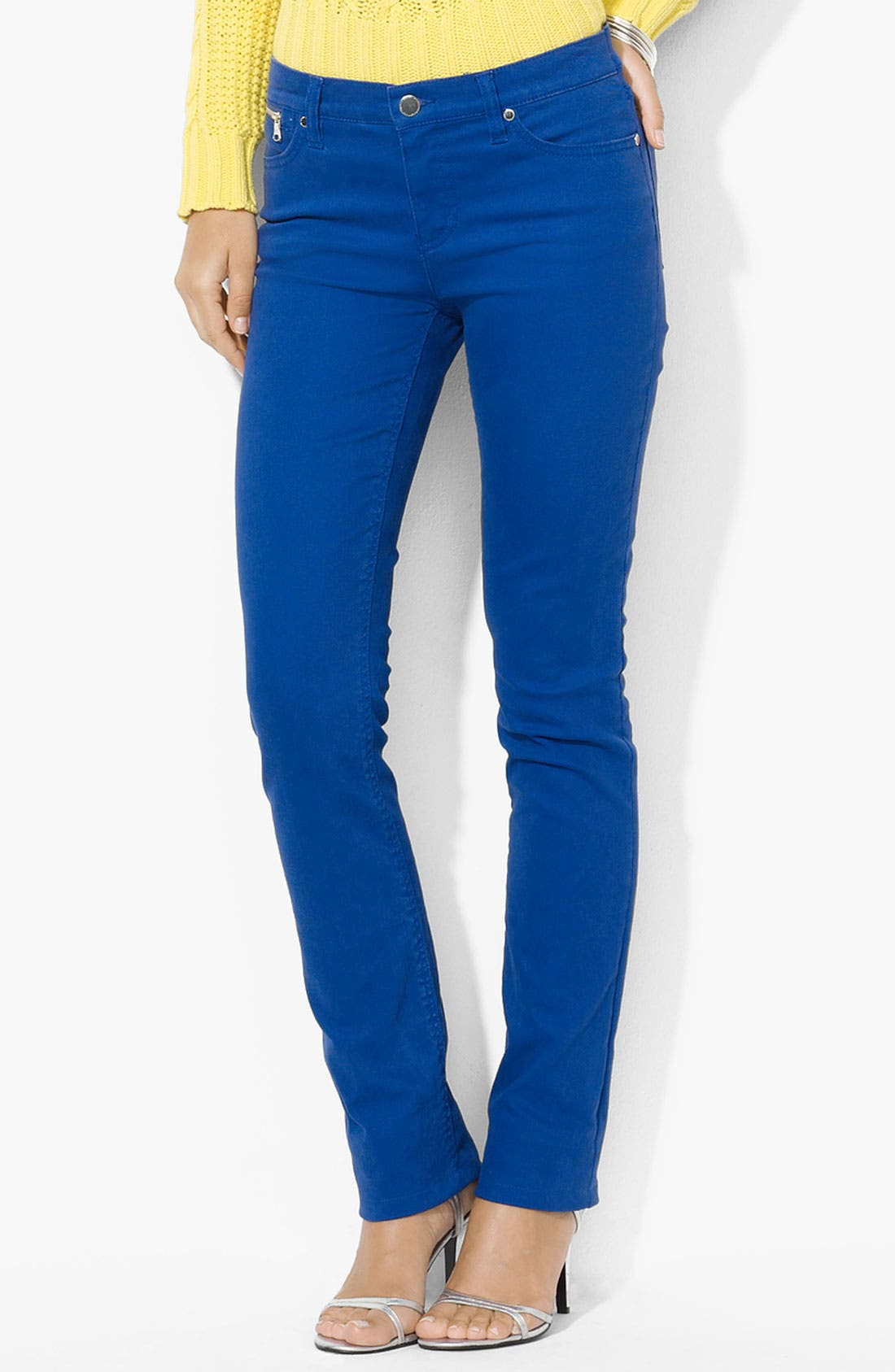Alternate Image 1 Selected - Lauren Ralph Lauren Slim Straight Leg Colored Jeans (Petite) (Online Only)