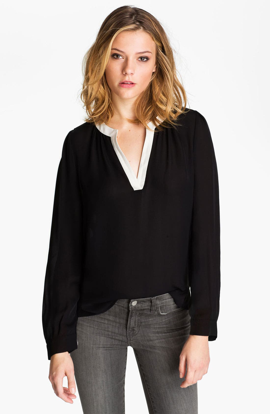 Alternate Image 1 Selected - Joie 'Tyrene' Contrast Collar Silk Blouse