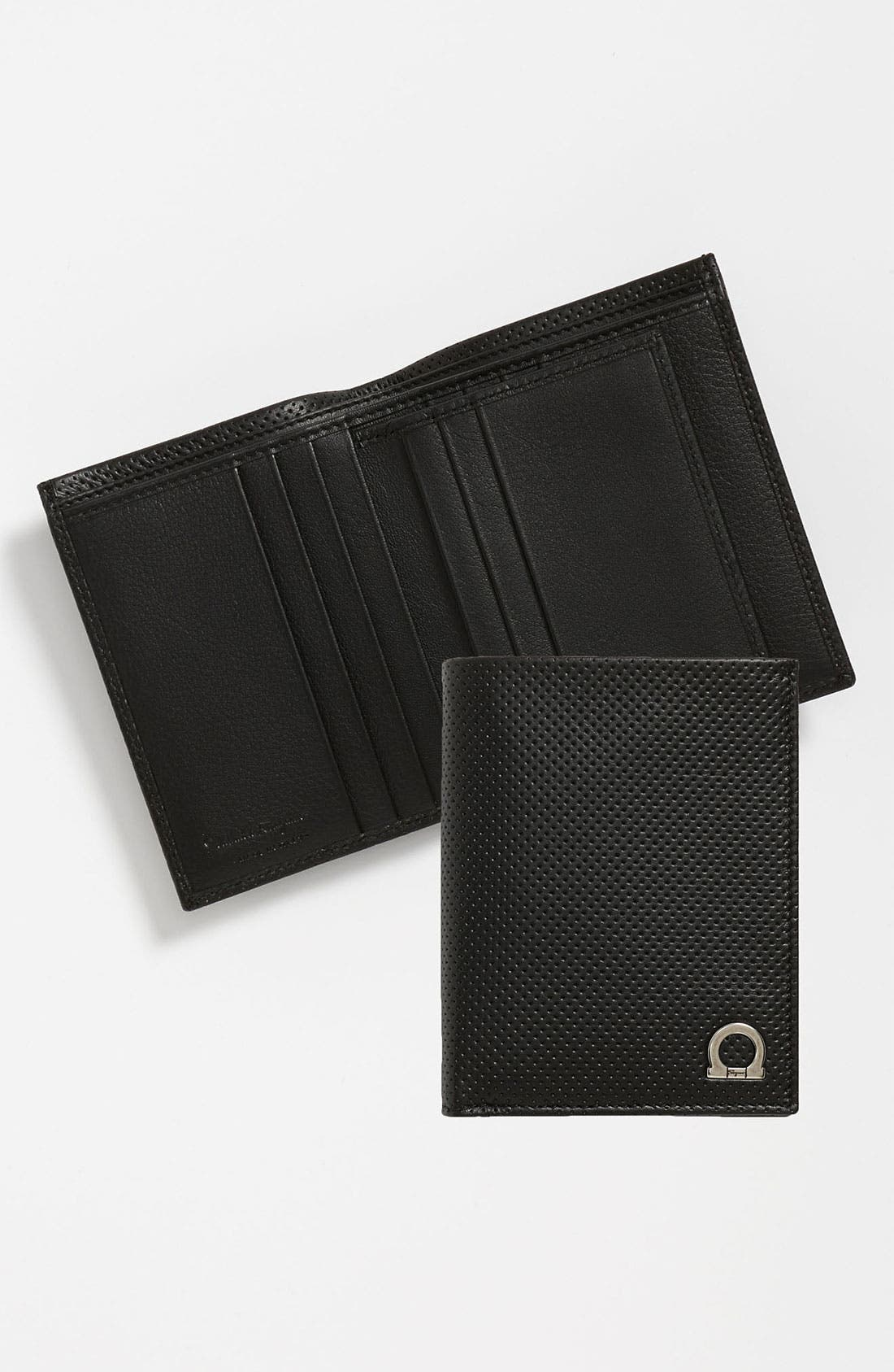 Alternate Image 1 Selected - Salvatore Ferragamo 'Melrose' Perforated Leather Wallet