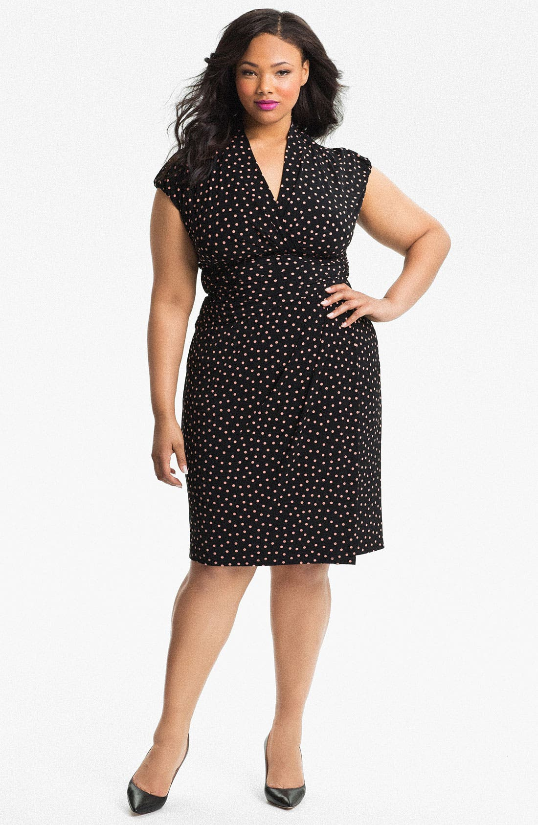 Alternate Image 1 Selected - Suzi Chin for Maggy Boutique Print Faux Wrap Dress (Plus Size)