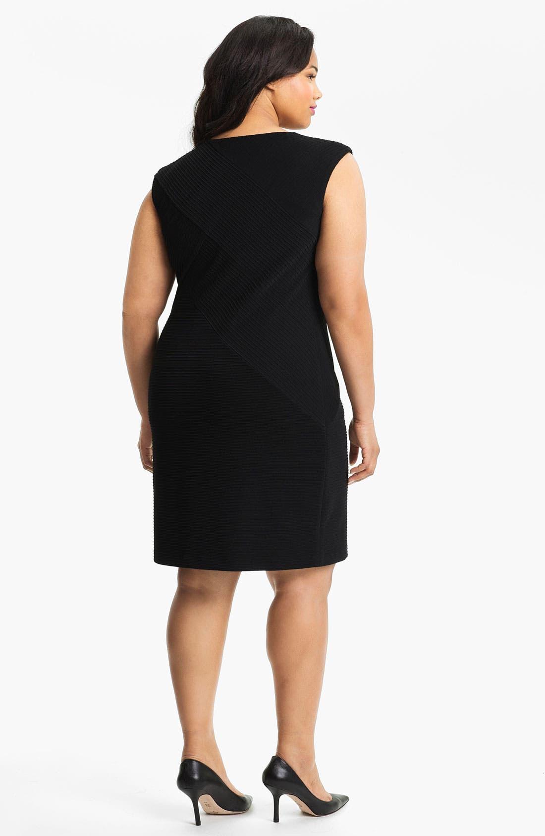 Alternate Image 2  - Calvin Klein Textured Jersey Sheath Dress (Plus)